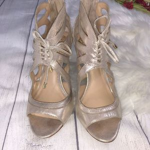 Vince Camuto Gold Lace-Up Stiletto Heels - 7.5